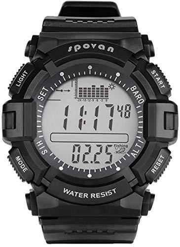 JSL Reloj deportivo digital para hombre, altímetro, barómetro, brújula, cronómetro, tiempo mundial, tiempo forcast impermeable, relojes de pulsera de pesca, gris