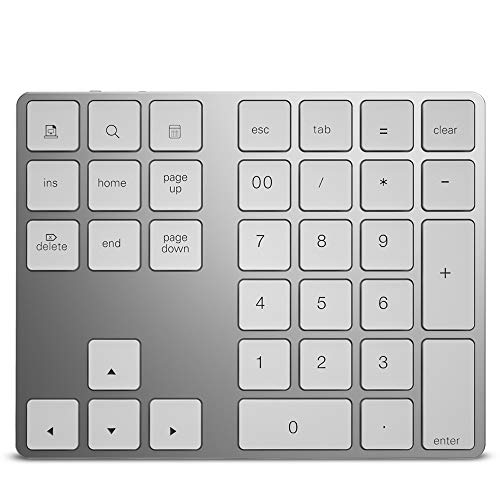 Docooler Wireless Numeric Keyboard Aluminium 34 Key BT Keyboard Built-in Rechargeable Battery Keypad for Windows/iOS/Android (Silver)