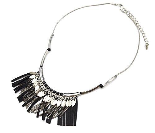 cc1434F–Collar Peto con colgante flecos piel sintética negro piedras y piezas Metal...