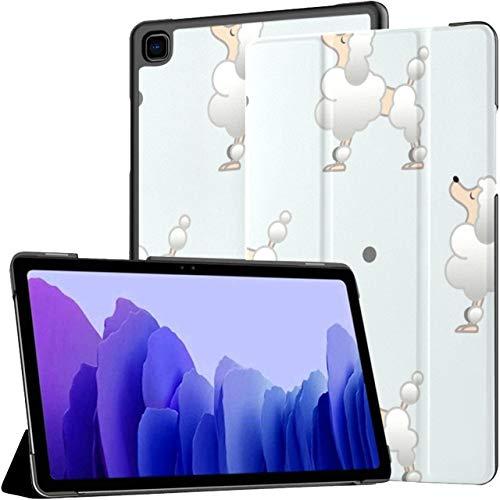 Funda para Samsung Galaxy Tab A7 Tablet de 10,4 Pulgadas 2020 (sm-t500 / t505 / t507), Animales Naturaleza Vida Silvestre Caniche Plano de repetición Cubierta de Soporte de múltiples ángulos con acti