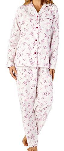 Slenderella Damen kleine Blume Druck rosa weich gebürstet Flanell Baumwolle langärmelige Kragen Knopf Oben Pyjama Set Größe XXL 24 26
