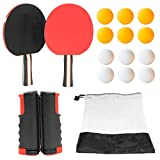 Table Tennis Set - Portable Ping Pong Set with Retractable Net, 2-Player Ping Pong Paddles, Ping Pong Balls...