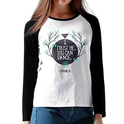Onesunc FashionWomen's Print Trust Me and You Can Dance Cotton Graphic Long Sleeve Baseball T-Shirts XL Black from Onesunc