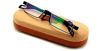 Featherweight Slim Half Rim Memory Flex Reading Glasses With Anti-reflective AR Coating