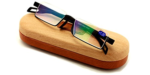 Featherweight Slim Half Rim Memory Flex Reading Glasses With Anti-reflective AR Coating (black, 2.50)