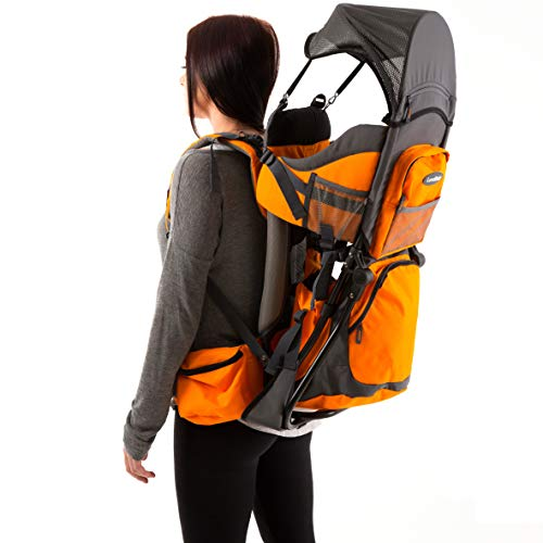 Premium Baby Backpack Carrier for Hiking with Kids – Carry your Child Ergonomically (Orange/Grey)
