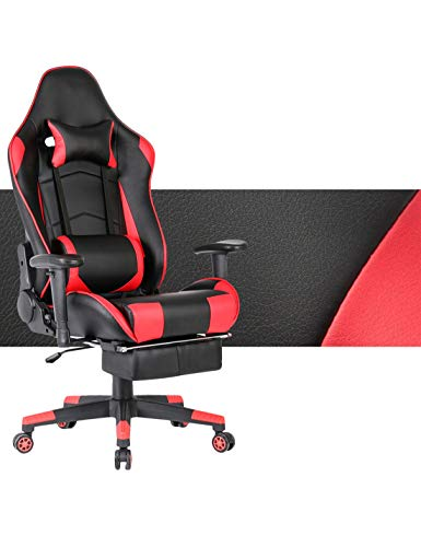 Gaming Chair Ergonomic Computer Game Chair Seat Height Adjustment Recliner Swivel Rocker E-Sports Office Chair with Headrest and Lumbar Pillow (Leather, Red with Footrest) chair footrest gaming