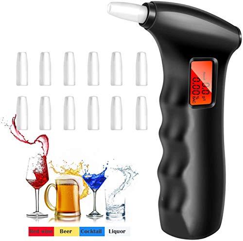 Alkoholtester Polizeigenau Professioneller Alkoholgehalt tester mit Halbleiter Sensor LCD Bildschirm Alcohol tester 100% Genauigkeit mit 12 Mundstücke Tragbar Alkoholtester für Treiber Hauptgebrauch