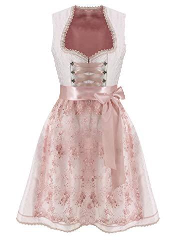 Lukas Dirndl Exklusives Designer Midi Damen Dirndl 2TLG. Kleid inkl. Spitzen Dirndlschürze - 18112 (50)