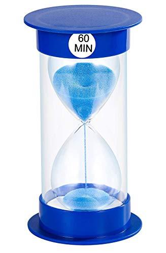 Temporizador de Arena Reloj de Arena de Reloj de Arena de 5 min / 10 Minutos / 15 mins / 20 mins / 40 mins / 45 mins / 60 Minutos para decoración de salón de Clase hogar y Oficina (60min, Azul