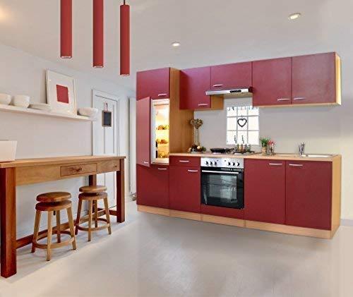 respekta KB270BREC Küche Küchenzeile Einbauküche Küchenblock 270 cm Buche ROT mit Einbaukühlschrank, Einbauspüle, Einbau Herd-Set, Unterbaudunstabzugshaube