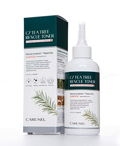 C7 TEA TREE RESCUE TONER - 5.41 fl oz/160ml, AHA BHA fresh Skin Care for face acne pore astringent - for oily skin type best facial serum for women Natural protector Patent Korean beauty water