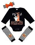 Conjunto de 4 piezas de disfraces de Halloween para bebé recién nacido, conjunto de letras, calabaza, impresión, ropa para bebés y niñas Mi primer Halloween - Negro - 3- 6 meses