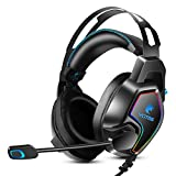 YOTMS PS4 Headset, Xbox One Stereo Gaming Headset with 7.1 Surround Sound, Noise Canceling Over Ear Headphones with Mic & RGB LED Light, Headset for PS4, Compatible with Xbox One, PC (Blue)
