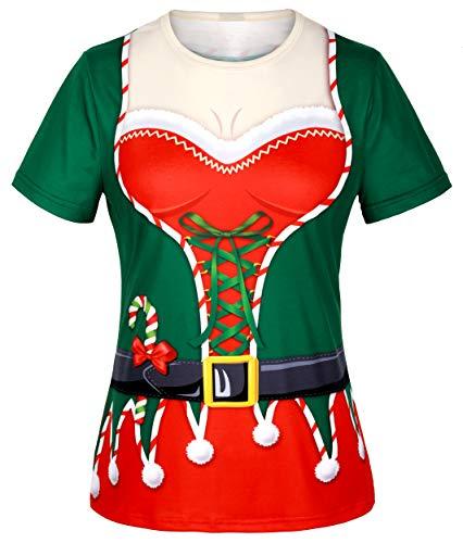 COSAVOROCK Disfraz de Papá Noel Elfo de Navidad Mujer Camiseta