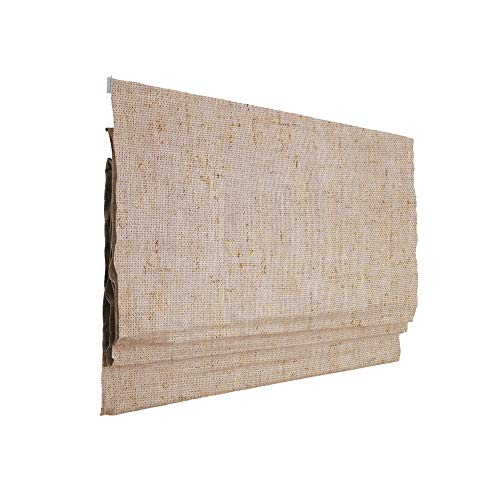 Victoria M. Ivora Raffrollo Rollo Faltrollo für Fenster und Türen, mit Schnurzug, Stabile Aluminium-Schienen, Pflegeleicht, 80 x 240 cm, Elfenbein-meliert