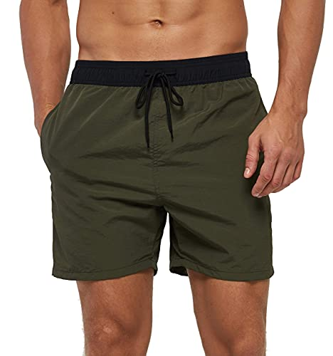 SILKWORLD Men's Swim Trunks Quick Dry Beach Shorts with Pockets, Army Green-AG, Large