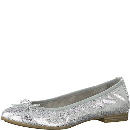 Tamaris Damen Ballerinas 22116-24, Frauen KlassischeBallerinas, feminin Woman Freizeit leger Flats sommerschuh elegant,Silver,37 EU / 4 UK