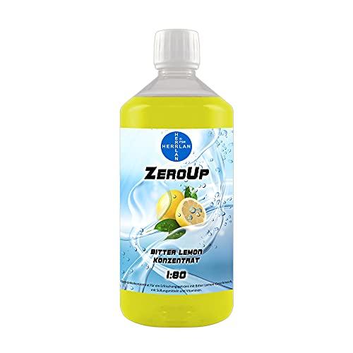 ZeroUp zuckerfreies Getränkekonzentrat mit Bitter Lemongeschmack 1000 ml Low Carb Vital Drink Sirup HERRLAN-Qualität