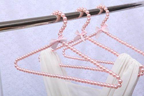 Bueer 10 Pack Pearl Beads Metal Elegant Clothes Hangers Standard Hangers (Pink)