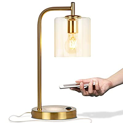Brightech - Elizabeth LED Desk Lamp with Wireless Charging Pad and USB Port – Midcentury Industrial Table Light for Living Room, Office, Bedroom - Hanging Glass Shade - LED Bulb - Brass Gold Color