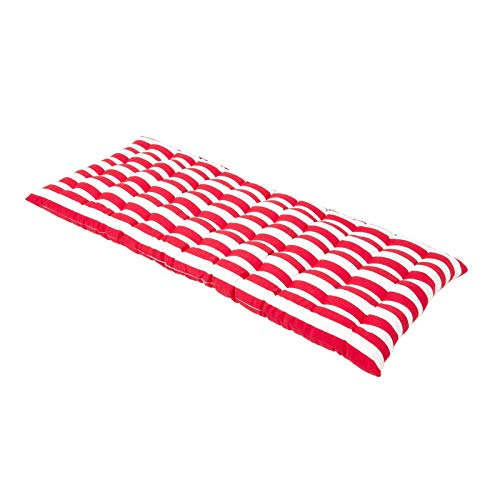 HOMESCAPES Red & White Stripe Garden Bench Cushion 2 Seater Seat Pad for Patio Furniture Kitchen or Dining Bench Indoor & Outdoor Use Comfortable 100% Cotton Thick Cushion 108 cm Wide