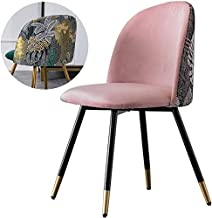 Meeting Room Chair - Velvet Seat/Iron Legs/Embroidered Backrest Design - Dining Kitchen Chair - Light Pink