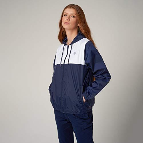 Roland Garros - Cortavientos con Capucha, Modelo Nalla de poliéster para Mujer, Talla M, Color Azul Marino y Blanco
