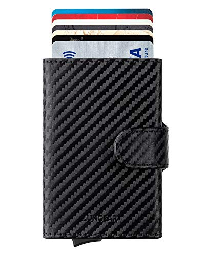 LUNGEAR Credit Card Holders Carbon Fiber Leather Wallet RFID Blocking Automatic Pop Up Slim Card Case for Men and Women
