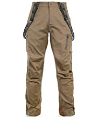 Durable Merino-nylon fabric in a ripstop woven configuration Built-in stretch and articulated fit for complete range-of-motion Breathable and silent with no shine Suspenders included