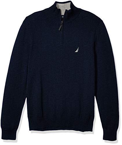 Nautica - Suéter de Corte clásico con Cierre para Hombre, Azul Marino (Deep Navy Heather), XX-Large