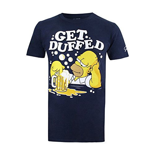 The Simpsons Herren Get Duffed T-Shirt, blau (Marineblau), L
