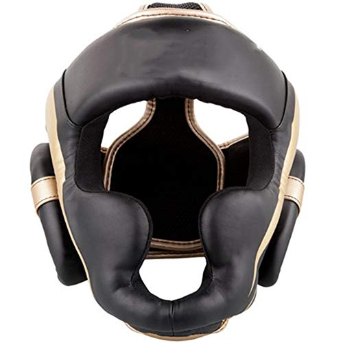 Zhengowen Boxhelm Strahlhelm Boxen Kämpfen Sanda Muay Thai Kopfschutz Sanda Boxing Helmet Kopfschutz für Boxen (Farbe : Black, Size : M)