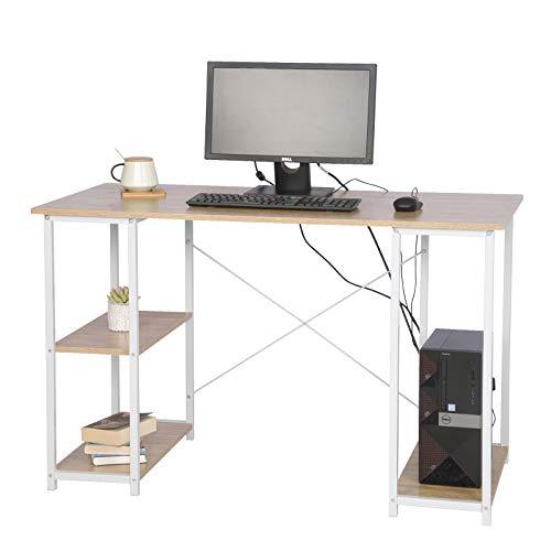 eSituro Escritorio de Ordenador Mesa de Trabajo PC Computadora Mesa de Oficina con 3 Estantes, Madera+Acero 120x60x75 cm SCD0059