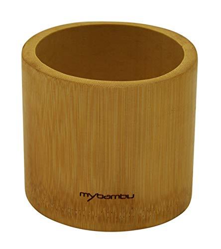mybambu Blumentopf aus 100% Bambus | Übertopf für Pflanzen, Kaktus, Sukkulente | Ø 8,6 cm, Höhe 9 cm | ecofriendly, nachhaltig, Pure Nature