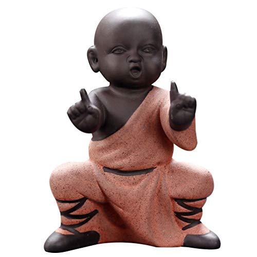 IMIKEYA Mini Mönch Ornamente Kung Fu Buddha Statue Tee Haustier Zen Garten Tee Tablett Figur für Kung Fu Tee Tablett Auto Home Desktop Dekoration (Rot)