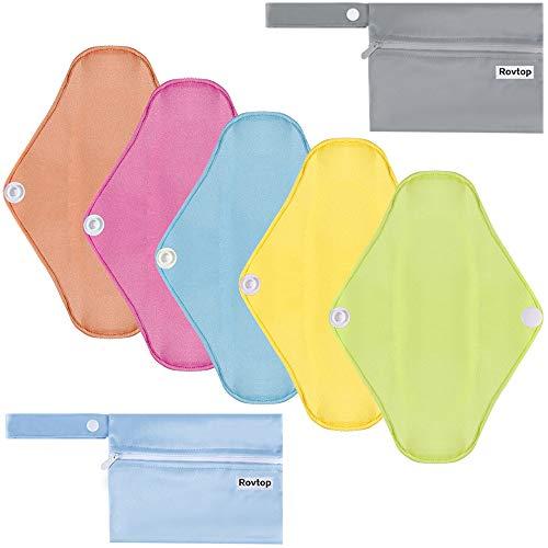 Rovtop 5 Pièces 25cm Serviettes Hygiéniques Lavables Pads Menstruel Chiffon Serviette Menstruelle Réutilisables Couleur Bonbon avec 2 Mini Sacs Portatifs