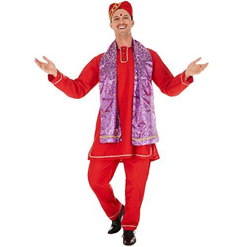 dressforfun Herrenkostüm Inder | Schöne Kurta mit Knopfleiste | Bequeme Hose mit Gummizug | inklusive Schal und Turban (XL | Nr. 301028)
