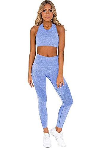 Ducomi Gin Tuta Fitness Donna - Set Leggings e Top Sportivi per Palestra, Yoga, Joggings e Sport - Abbigliamento Completo Sportivo Leggins Vita Alta e Top Crop Sostegno e Comfort (Blue, M)