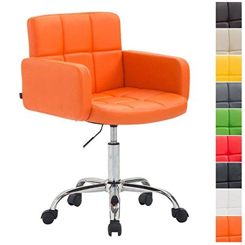 CLP Arbeitshocker Los Angeles Mit Kunstlederbezug I Drehstuhl Mit Laufrollen I Höhenverstellbarer Rollhocker Mit Metallgestell, Farbe:orange