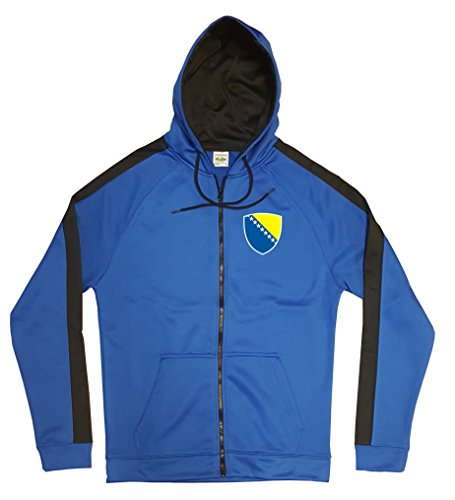 Bosnien Jacke Sweater Royal GO Bosna Trikot Look Zip Nation Fussball Sport (S)