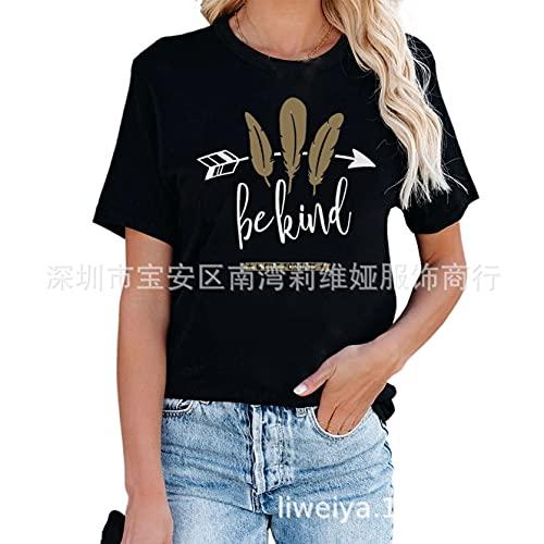 Camisetas de Manga Corta con Estampado no deformado para Mujer, Color Negro, Estilo Simple, para Oficina, Verano, para Playa, Informal, para Interiores