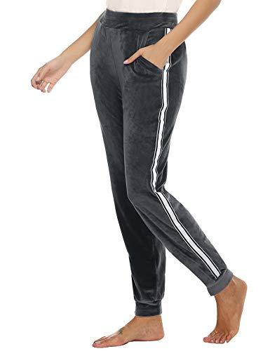 Hawiton Damenhose Samthose Loungehose mit Seitenstreifen Sporthose Traininghose Freizeithose mit Bündchen Modischer Velours Jogginghose für Winter, Grau, XL