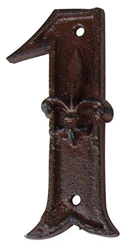 Esschert Design Hausnummer 1, mit Lilien Muster aus Gusseisen in antikbraun, patiniert, ca. 8 cm x 12 cm