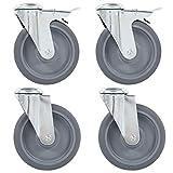 LINWXONGQP Material: TPR (Caucho termoplástico) y Hierro Recubierto de Zinc Ruedas giratorias con Agujero Pasador 8 Unidades 125 mm