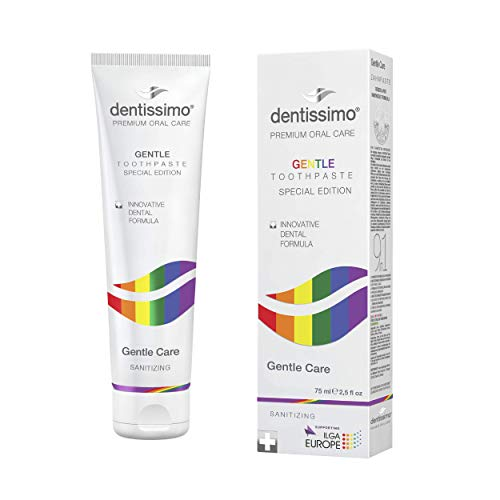 DENTISSIMO SWISS BIODENT Gentle Care Vegan Fluoride Free Gel Toothpaste, Natural Formula with Vitamin E, 2.5 fl. oz.