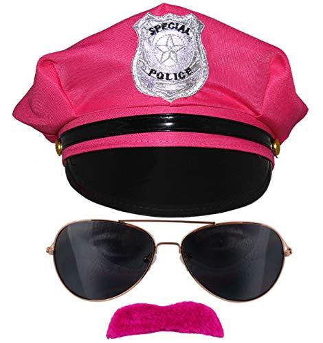 bad taste dieser Style macht geil pinkes 80er Jahre neon Polizei Kostüm Set für Karneval Fasching Junggesellenabschied - Pinke Polizei Mütze, Sonnenbrille, neon Bärte