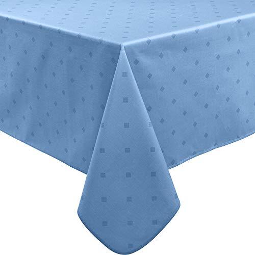 Erwin Müller abwaschbare Tischdecke, Tischwäsche Neuss im Rautendesign, blau Größe 110x140 cm - acrylversiegeltes Gewebe für leichtes Wischen (weitere Farben, Größen)