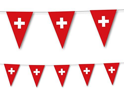 3,5m Wimpelkette * SCHWEIZ * als Deko für Länderparty von DH-Konzept // Mottoparty Banner Girlande Partykette