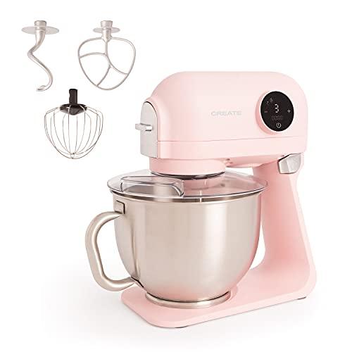 IKOHS DOWNMIX Retro - Batidora Amasadora, Amasadora para Repostería, Robot de Cocina Automática Multifuncional con Tres Accesorios, 5L, 6 Velocidades, 1200W, Bol de Acero Inoxidable (Rosa Pastel)